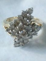 14K GOLD DIAMOND CLUSTER  RING TGW 5.9