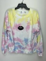 Wildfox Couture Womens Pucker Up Pullover Sweater Tie Dye Multicolor
