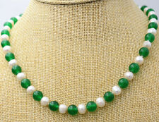 7-8MM White Akoya Pearl & Green Emerald Necklace 18""