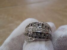 18k White Gold Diamond Black Diamond Ring Band.  FSC. Mint. Gift Ready.