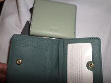 "Fossil ""Emma"" Light Sage Leather Mini Bifold Wallet NWT"