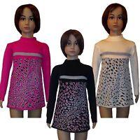 New Girls Tunic Knitted Jumper Leopard Long Top Dress Sweater Jumper 3-6years #6