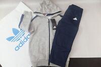 Adidas Infant Boys Children Linear Hooded Tracksuit Kids Jogger  Full Set DN8419