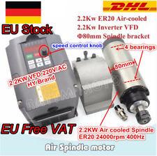【EU】2.2kw er20 Air cooled Spindle Motor Fräsmotor 400Hz 80mm&Inverter VFD Driver