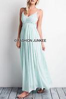 MINT CROCHET MAXI Dress Backless Open Back Full Length Bridesmaid Boho XS S M L