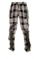 BLEUBOLT Black White Tartan Punk Rock Goth Bondage Zip Pants Trousers
