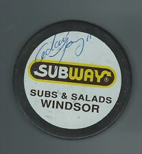 Adam Young Signed Windsor Spitfires Subway Puck New Jersey Devils Draft Pick