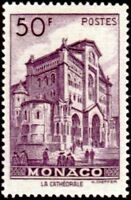 """MONACO STAMP TIMBRE YVERT ET TELLIER N° 313C """" CATHEDRALE 50F VIOLET """" NEUF x TB"""