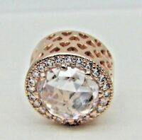 Authentic PANDORA Rose Gold Clear CZ Radiant Hearts Charm 781725CZ