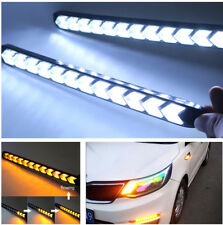 2x Car DRL LED Turn Signal Light White/Amber Flowing Knight Strip Arrow Flasher