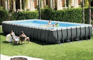 "Intex 26373EH 32' x 16' x 52"" Rectangular Ultra XTR Frame Swimming Pool with Pum"