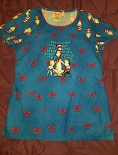 Theme DR. SEUSS THE CAT IN THE HAT  Womens VNECK medical Scrub top MEDIUM