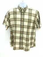 Pendelton Seaside Short Sleeve 100% Cotton Button Up Casual Plaid Shirt Mens Lg
