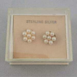 Faux Pearl Flower and Silver Stud Earrings 1980s Sterling Boxed New Old Stock