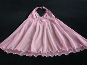 Victoria's Secret Sheer Babydoll Stretch Lace Halter Bodice S Coral Vintage NEW