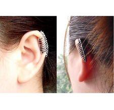 Punk oreja dobladillo pendientes de plata de hueso de la columna vertebral