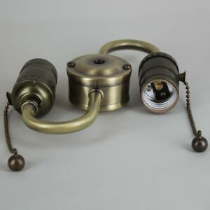 PreWired Pull Chain Lamp Socket CLUSTER ~ ANTIQUE BRASS ~ Double Socket S Shape