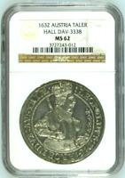 Austria 1632 Silver Coin Taler Archduke Leopold V Hall DAV-3338 Thaler NGC MS62