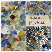 Lot Of Estate Vintage Glass Marbles. Variety of colors, shooters, metal antique