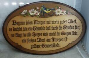 antike Spruchtafel Brandmalerei Sinnspruch