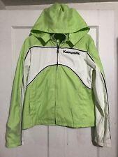 Kawasaki Women's Sz Large Light Green / White Biker Removable Hooded Jacket Coat