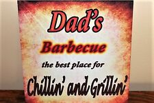 Vintage retro Barbecue Sq metal wall sign personalise any name Dad, Big Joe etc.