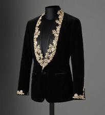 Black Velvet Gold Lace Appliques Tuxedos Mens Prom Wedding Dinner Party Blazer