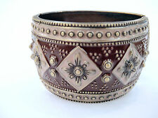 "Antique Bronze Look Brown Color Enamel 1 3/4""Wide Hinged Chunky Bangle Bracelets"