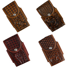 Hand Tooled Western Cowboy Cell Phone Holder Case Leather Loop Holster Rodeo
