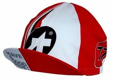 ASSOS Red & White Cycling Cap Summer Made In Italy 100% Cotton