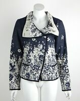 Joseph Ribkoff Brocade Floral Jacket Button Front Long Sleeves Navy Size 10 New