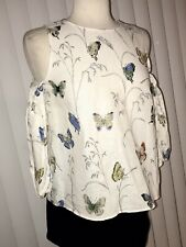 NWT Zara White Butterfly Maternity Off Shoulder Crop Top Blouse Top Small $45.90