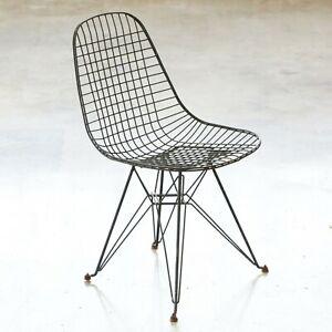 Eames Vintage Original Eiffel Wire Dkr MCM Black Chair by Herman Miller Vintage