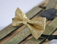 Gold shining bow tie Bowtie + Elastic suspenders Braces for Men / Boys / Baby