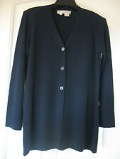VTG REAL CLOTHES SAKS FIFTH AVENUE Cardigan Sweater Women's Sz M Navy Rayon
