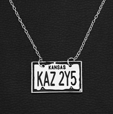 Movie Supernatural Dean Kansas KAZ 2Y5 License plate Pentagram Pendant Necklace
