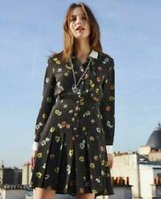 The Kooples Black  Crepe Camellia Dots White Collar Shirt Dress $425