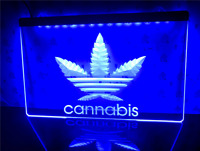 Cannabis Adidas Neon LED Sign Hanging Sign 40x30cm Bar Pub Advertising Man Cave