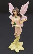Small Pink Yellow Fairy With Tulip Flowers Mythical Statue Fantasy Figurine 5""