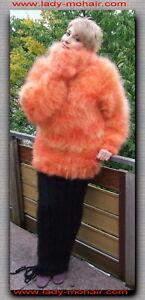 Langhaar LUXUS Mohair FUZZY SWEATER PULLOVER gelb-orange M-L