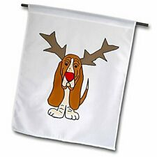 "3dRose fl_220486_1""Funny Christmas Basset Hound Dog As Reindeer Garden Flag, 12"