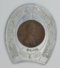 Encased 1949 Wheat Penny Souvenir of Natural Bridge VA Horseshoe Shape
