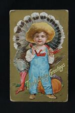 Great Turn of the century Thanksgiving postcard  dated 1908