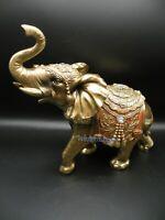 "Gold Elephant 10""  Elephant Trunk Statue Lucky Figurine Hand Painted"
