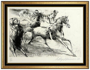 LeRoy Neiman Original Daily Double Etching Hand Signed Horse Racing Artwork SBO