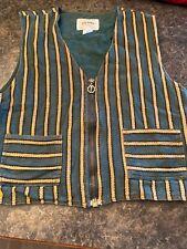 Vtg Factory Striped Zip Up Vest Size Xl Green Tan