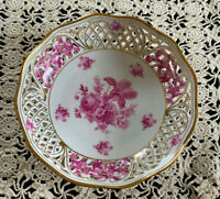 Vintage Schumann Arzberg Germany Reticulated Bowl, Pink Flowers, Gold Trim