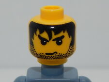 Lego Minifigure Head Male Stubble, Black Messy Hair, & Angry Eyebrows Pattern H4