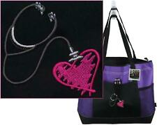 Stethoscope & Heart Gemline Purple Zipper Tote Medical Nurse Doctor Monogram Bag
