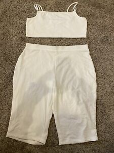 Womens 2 Piece Outfit White Size XL
